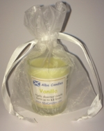 Vanilla Alba candle in a red gift bag